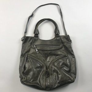 Cole Haan Crossbody Distressed Leather Purse Gray